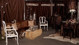 White Chair covered in cowhide fabric, Photographed by Dash Photography, http://weddingwars.dash-photography.net