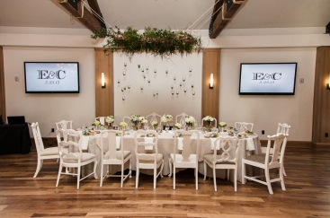Wedding at Highlands Ranch Mansion with white vintage chairs