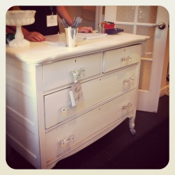 vintage white dress denver altar welcome table card table