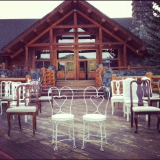 mismatched vintage chairs at Evergreen Lakehouse