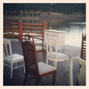 mismatched vintage chairs at Evergreen Lakehouse just outside of Denver Colorado